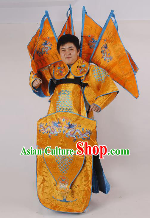 Professional Chinese Peking Opera General Golden Embroidered Costume and Props for Adults