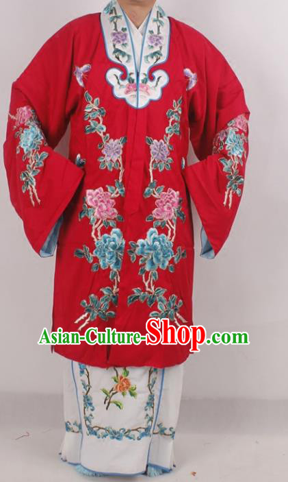 Professional Chinese Beijing Opera Actress Princess Embroidered Red Costumes for Adults