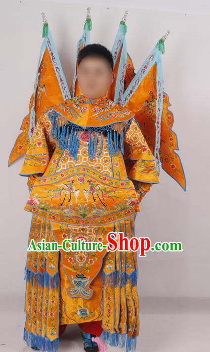 Professional Chinese Peking Opera Female General Mu Guiying Embroidered Yellow Costumes for Adults