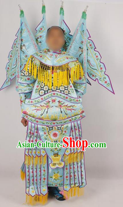 Professional Chinese Peking Opera Female General Mu Guiying Embroidered Light Blue Costumes for Adults