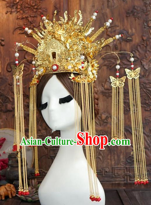 Chinese Handmade Wedding Hair Accessories Ancient Queen Phoenix Coronet Hairpins Complete Set for Women