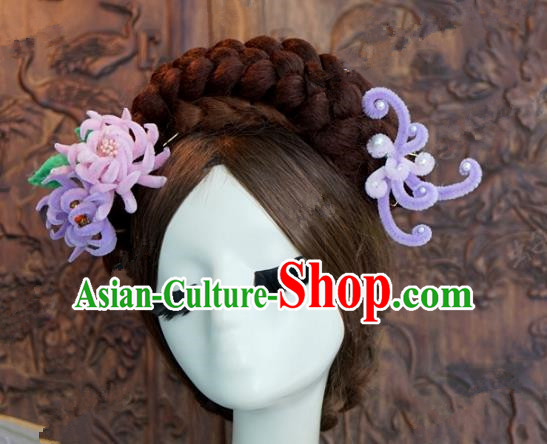 Top Grade Chinese Handmade Hair Accessories Qing Dynasty Princess Purple Velvet Chrysanthemum Hairpins for Women
