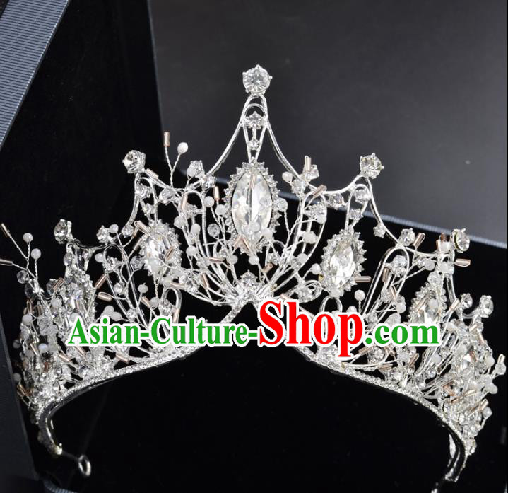 Handmade Baroque Bride Royal Crown Wedding Crystal Hair Jewelry Accessories for Women