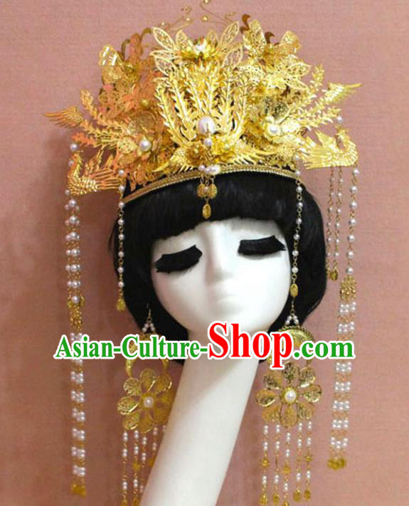 Chinese Ancient Handmade Bride Phoenix Coronet Hairpins Queen Hair Accessories Step Shake Complete Set for Women