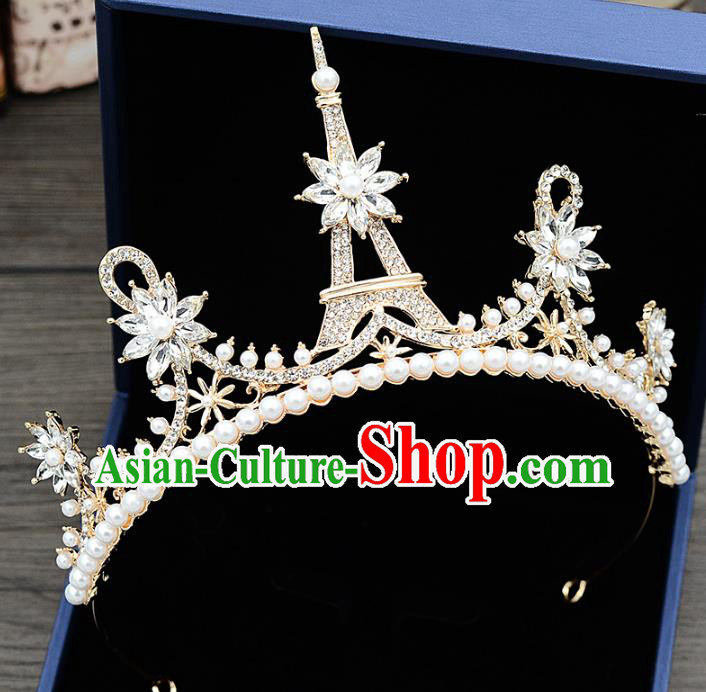 Handmade Baroque Bride Tower Crystal Royal Crown Wedding Hair Jewelry Accessories for Women