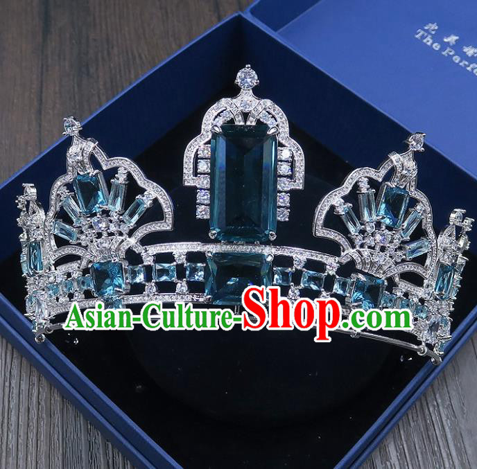 Handmade Baroque Bride Baroque Green Crystal Royal Crown Wedding Queen Hair Jewelry Accessories for Women