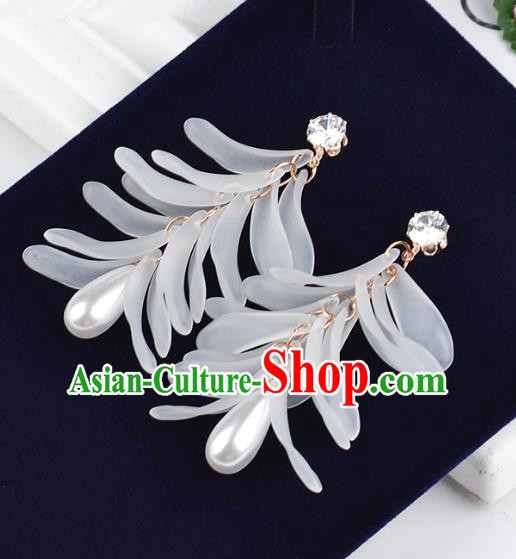 Top Grade Handmade Jewelry Accessories Bride White Pearl Earrings for Women