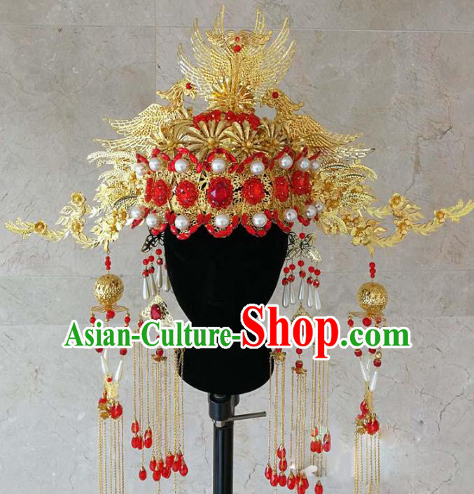 Chinese Ancient Handmade Red Crystal Phoenix Coronet Bride Hair Accessories Headwear for Women