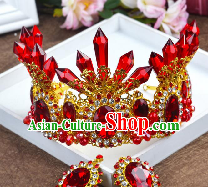 Handmade Baroque Queen Red Crystal Royal Crown Wedding Bride Hair Jewelry Accessories for Women