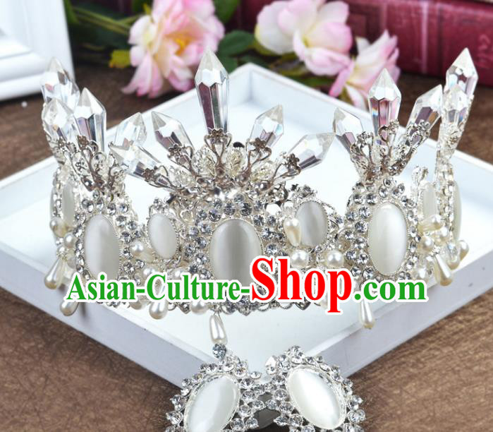 Handmade Baroque Queen White Crystal Royal Crown Wedding Bride Hair Jewelry Accessories for Women