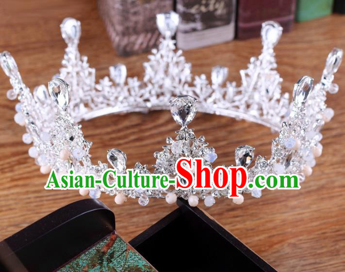 Handmade Wedding Baroque Queen Crystal Round Royal Crown Bride Hair Jewelry Accessories for Women