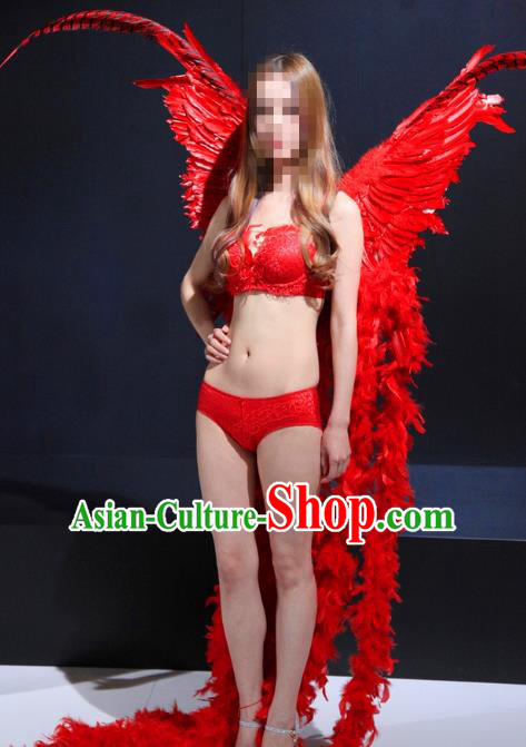 Top Grade Catwalks Swimsuit Red Feather Butterfly Wing Stage Performance Customized Rio Carnival Feather Prop for Women