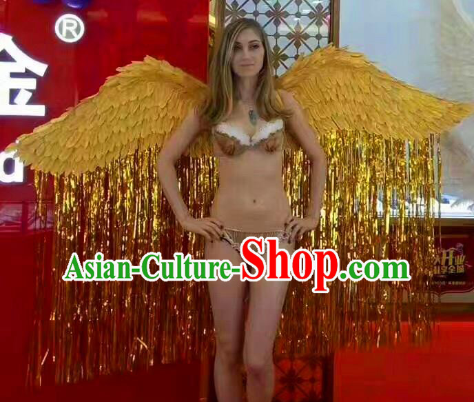 Top Grade Catwalks Swimsuit Wing Stage Performance Model Show Customized Yellow Feather Wings for Women