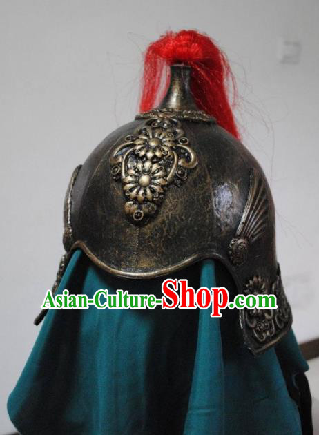 Ancient Cosplay Chinese Three Kingdoms Period General Iron Helmet Hat for Men