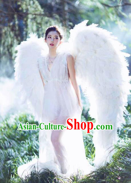 Top Grade Catwalks Miami Deluxe White Feather Wings Stage Performance Model Show Customized Wings for Women