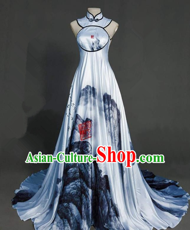 Top Grade Chinese Catwalks Customized Costume Model Show Printing Crane Cheongsam Full Dress for Women