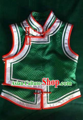 Chinese Traditional Mongolian Costume China Mongol Nationality Folk Dance Green Vest for Women