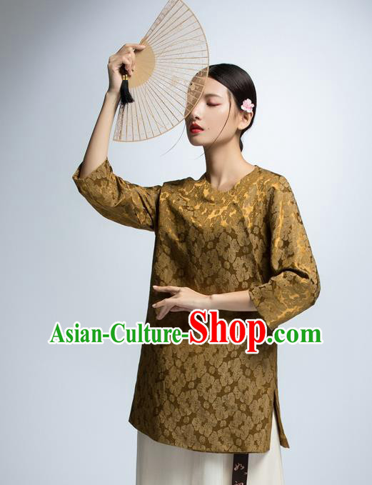 Chinese Traditional Costume Golden Cheongsam Blouse China National Upper Outer Garment Shirt for Women