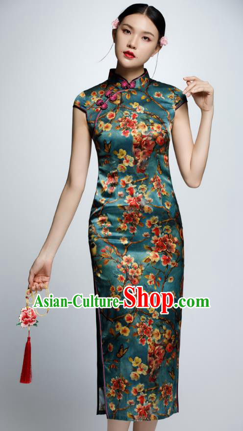 Chinese Traditional Printing Green Cheongsam China National Costume Qipao Dress for Women