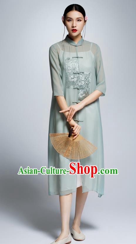 Chinese Traditional Green Cheongsam China National Costume Tang Suit Qipao Dress for Women