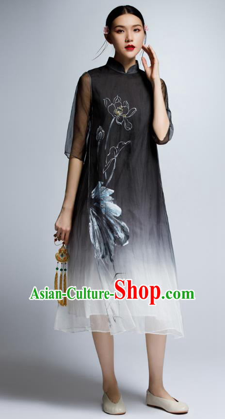 Chinese Traditional Embroidered Lotus Black Cheongsam China National Costume Tang Suit Qipao Dress for Women