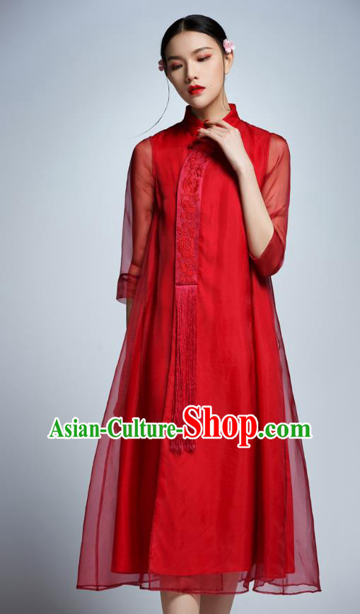 Chinese Traditional Embroidered Red Cheongsam China National Costume Tang Suit Qipao Dress for Women