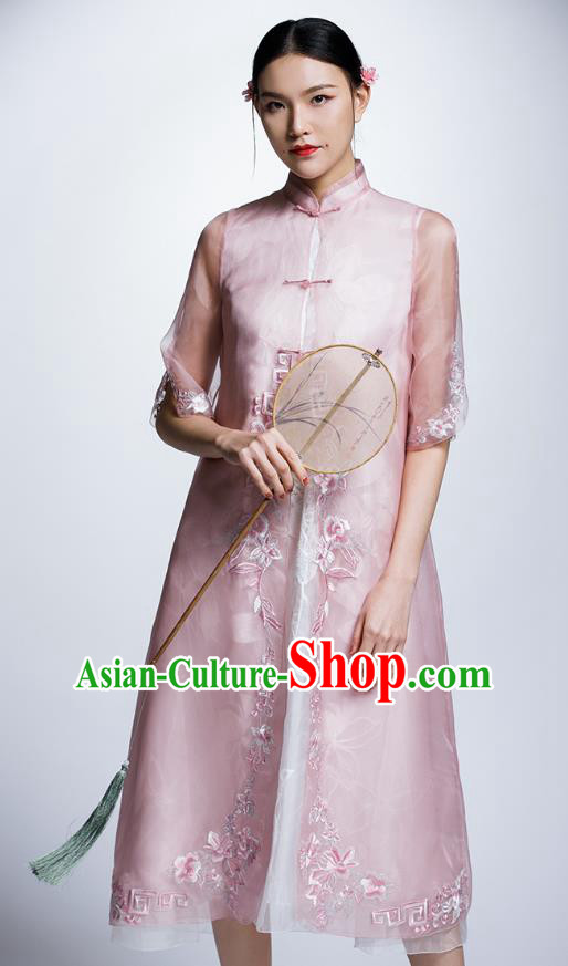 Chinese Traditional Costume Embroidered Flowers Pink Cheongsam China National Tang Suit Qipao Dress for Women