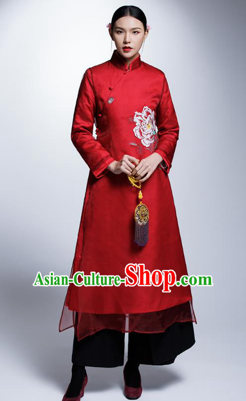 Chinese Traditional Tang Suit Cheongsam China National Red Qipao Dress for Women