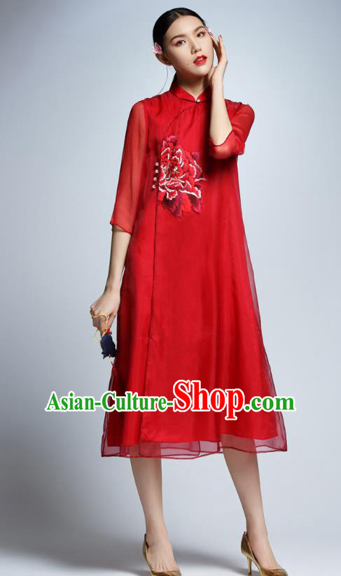Chinese Traditional Embroidered Peony Red Cheongsam China National Costume Tang Suit Qipao Dress for Women