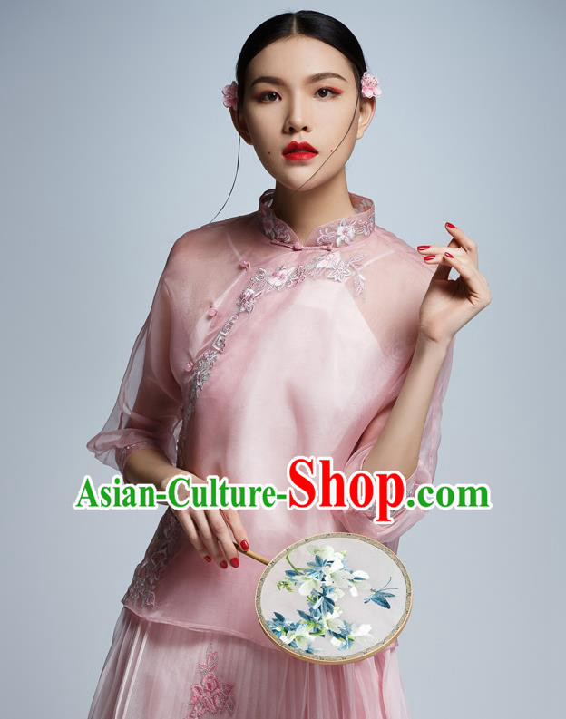 Chinese Traditional Tang Suit Embroidered Pink Blouse China National Upper Outer Garment Cheongsam Shirt for Women