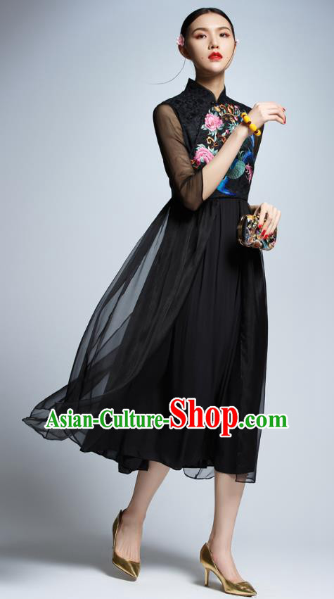 Chinese Traditional Embroidered Phoenix Black Cheongsam China National Costume Tang Suit Qipao Dress for Women