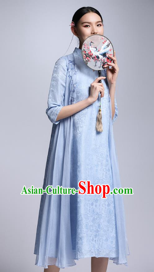 Chinese Traditional Tang Suit Blue Cheongsam China National Qipao Dress for Women
