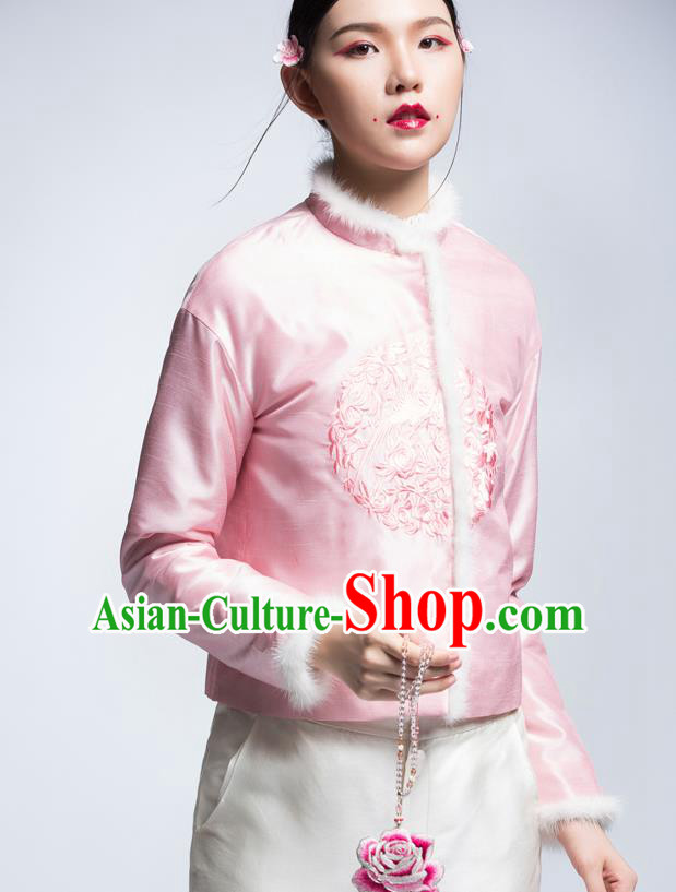 Chinese Traditional Tang Suit Pink Cotton-Padded Jacket China National Upper Outer Garment Cheongsam Shirt for Women