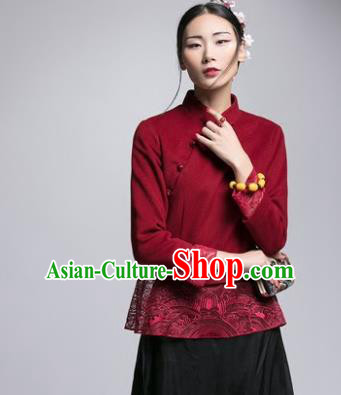 Chinese Traditional Tang Suit Red Woolen Jacket China National Upper Outer Garment Cheongsam Shirt for Women