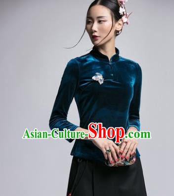 Chinese Traditional Tang Suit Green Velvet Blouse China National Upper Outer Garment Cheongsam Shirt for Women