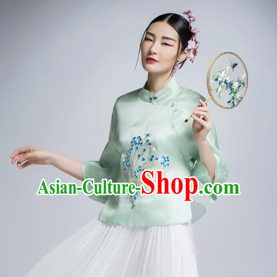 Chinese Traditional Tang Suit Green Silk Blouse China National Upper Outer Garment Shirt for Women