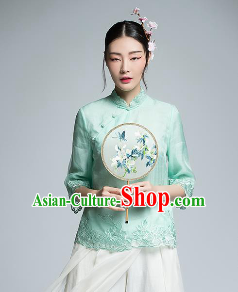Chinese Traditional Tang Suit Embroidered Green Blouse China National Upper Outer Garment Shirt for Women