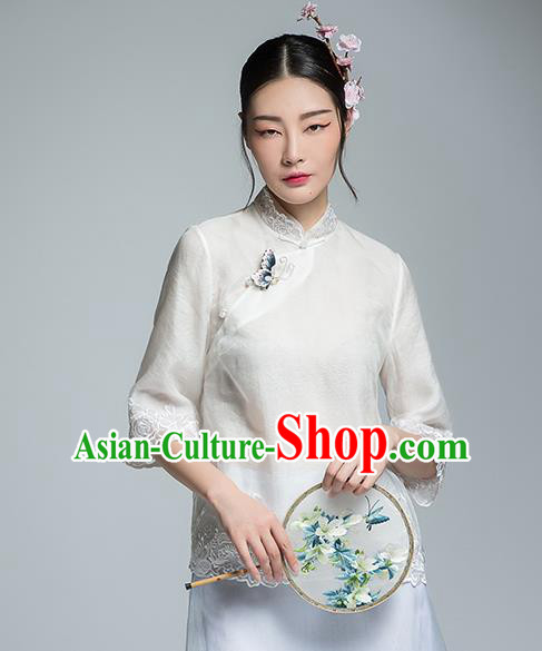 Chinese Traditional Tang Suit Embroidered White Blouse China National Upper Outer Garment Shirt for Women