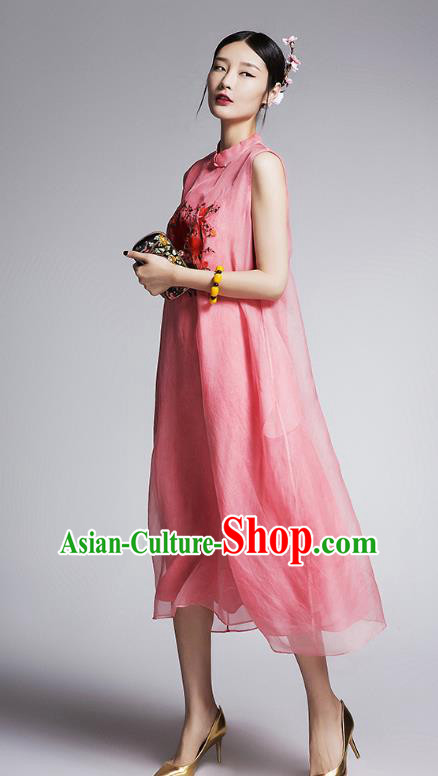 Chinese Traditional Tang Suit Embroidered Peony Cheongsam China National Pink Qipao Dress for Women