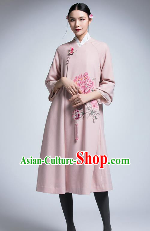 Chinese Traditional Tang Suit Pink Woolen Dust Coat China National Upper Outer Garment Coat for Women