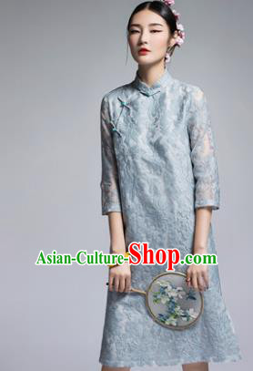 Chinese Traditional Tang Suit Blue Lace Cheongsam China National Qipao Dress for Women
