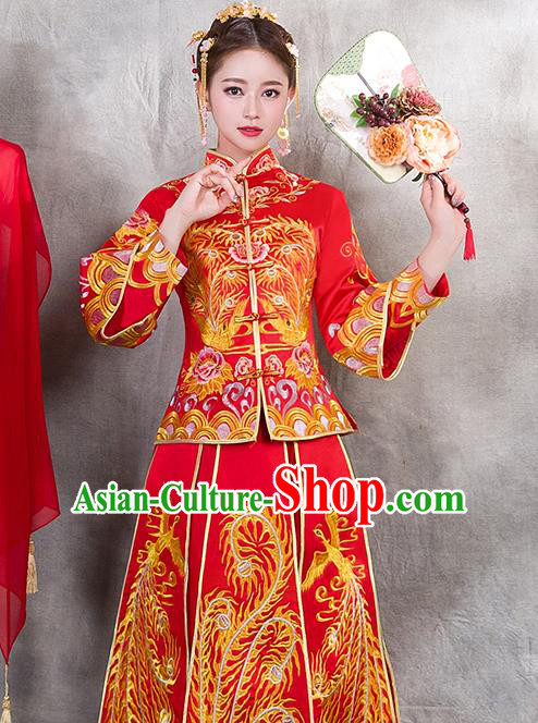 Traditional Chinese Ancient Bottom Drawer Embroidered Phoenix Xiuhe Suit Wedding Dress Toast Red Cheongsam for Women