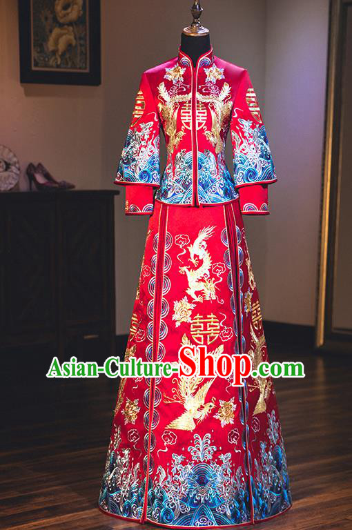Chinese Traditional Wedding Embroidered Dragon and Phoenix Bottom Drawer Ancient Bride Xiuhe Suit Costume for Women