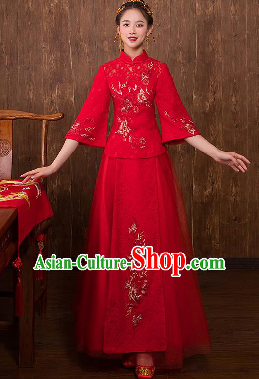 Chinese Traditional Embroidered Peony Bridal Red Xiuhe Suit Wedding Dress Ancient Bride Cheongsam for Women