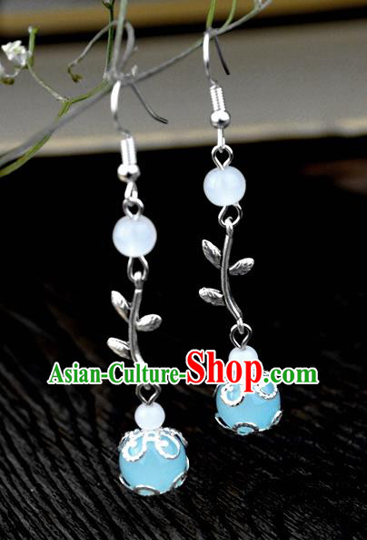 Chinese Traditional Ancient Earrings Accessories Hanfu Blue Bead Eardrop for Women