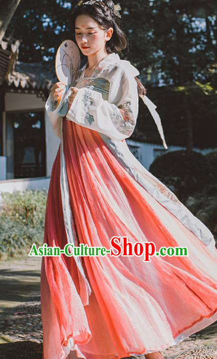 Chinese Ancient Drama Princess Embroidered Hanfu Dress Tang Dynasty Palace Lady Clothing for Women