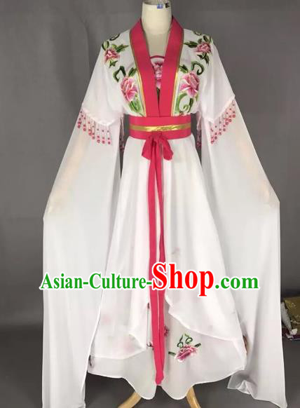 Chinese Traditional Peking Opera Actress White Dress Beijing Opera Princess Embroidered Costumes for Adults