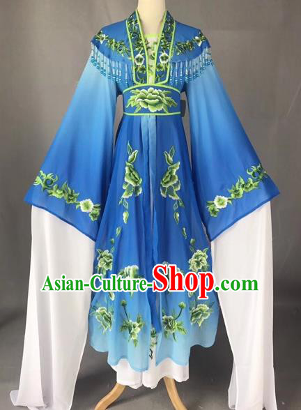 Chinese Peking Opera Actress Blue Dress Traditional Beijing Opera Rich Lady Embroidered Costumes for Adults