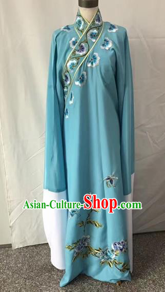 Chinese Traditional Beijing Opera Niche Embroidered Peony Blue Robe Peking Opera Young Men Costume for Adults