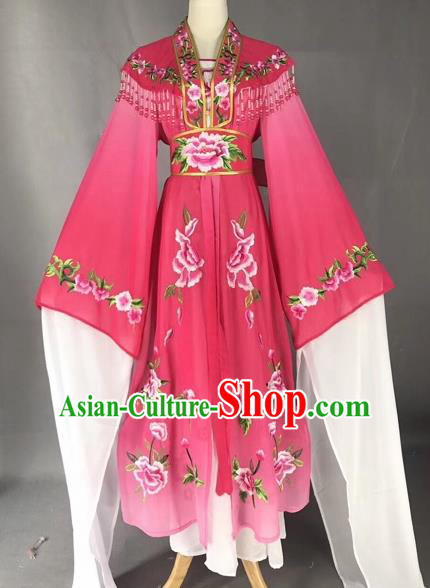 Chinese Peking Opera Actress Rosy Dress Traditional Beijing Opera Rich Lady Embroidered Costumes for Adults